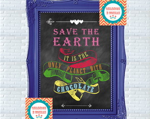 Chalkboard - Quadro Lousa SAVE THE EARTH