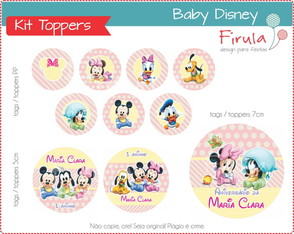 Kit Digital Toppers Baby Disney Rosa