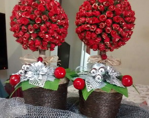Topiária mini rosas NATAL