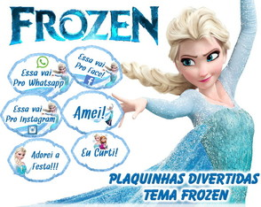 Kit 30 Placas Divertidas - Tema Frozen