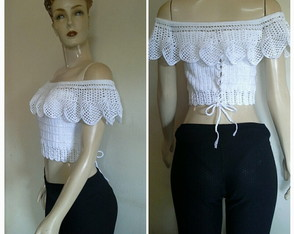 Cropped Crochet Ciganinha