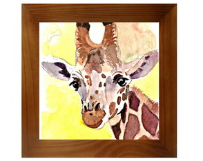 QUADRO DECOR AQUARELA - GIRAFA