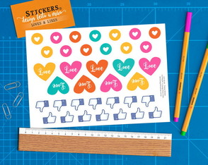 Cartela 36 Stickers Loves & Likes