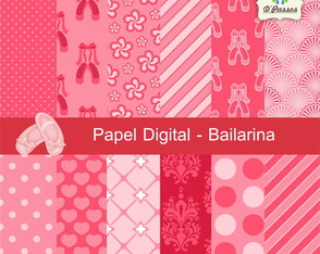 Kit c/ 12 - Papel Digital Bailarina