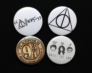 Kit 4 Bottons / Broches Harry Potter