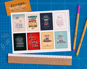 Cartela 8 Stickers Mini Poster Frases