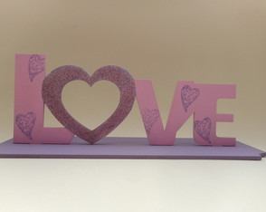 plaquinha letras decorativas love mdf placa