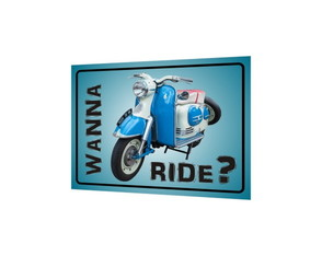 Placa MDF Wanna Ride? Vespa - 885