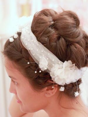 Headband Tule Flores Seda Pérolas