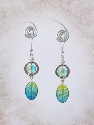 """Brincos """"Gotas de arco-íris"""", azul"""