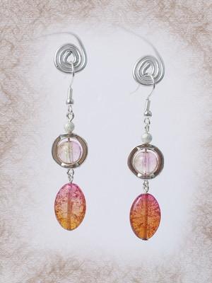 """Brincos """"Gotas de arco-íris"""", rosa"""