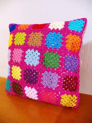 Almofada de Granny Squares em Pink