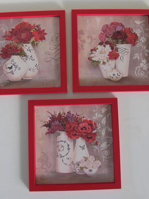 Trio de Quadros Vermelho Flores Tam 23 x 23 cm cada