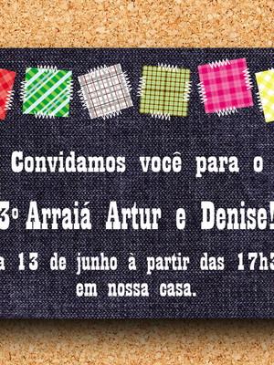 Convite Festa Junina Jeans e Retalhos (digital)