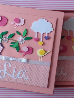 diário bebê menina caixa jardim encantado chuva amor scrap