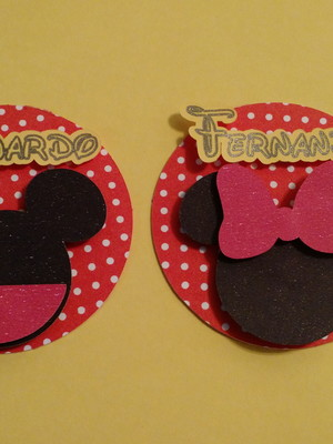 Topper personalizado Mickey e Minnie 3D
