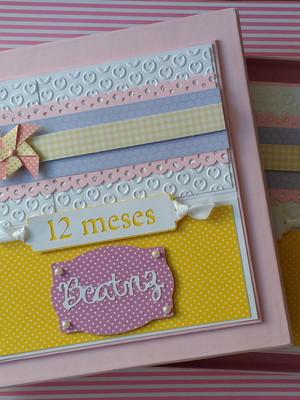 álbum fotos personalizado bebê menina scrap página decorada