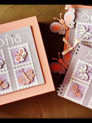 livro do bebê menina e caixa e scrapbook fotos e mensagens