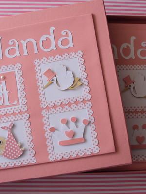 diario bebe rosa princesa caixa scrapbook cegonha