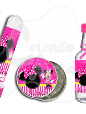 Kit Minnie Rosa c/ 3 Lembrancinhas
