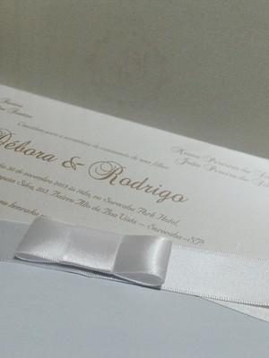 Convite de Casamento metálico com strass