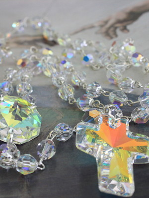 Terço Noiva Cristal Swarovski - Grande