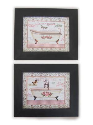 Kit 02 quadros para Banheiro com Vidro Tam. 17 x 22 cm cada
