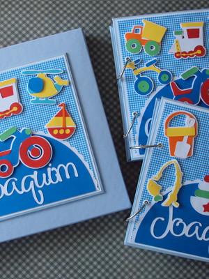 álbuns para fotos decorados com caixa scrap para menino