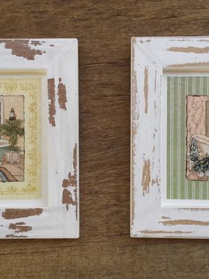 Kit 2 quadros brancos de banheiro, Tam.: 14 x 14 cm cada