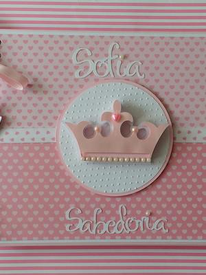 caderno personalizado chá bebê maternidade princesinha scrap