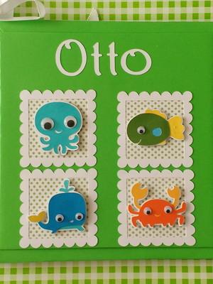 livro diário bebê menino fundo mar personalizado scrapbook