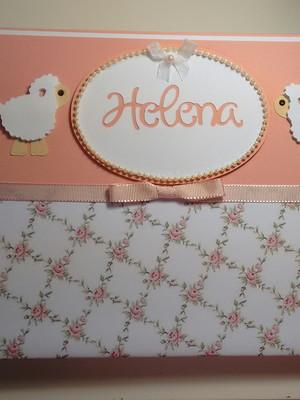 caderno bebê menina maternidade chá personalizado ovelhinha