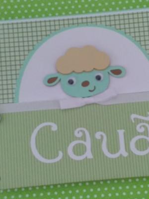 caderno personalizado bebê menino maternidade ovelhinha
