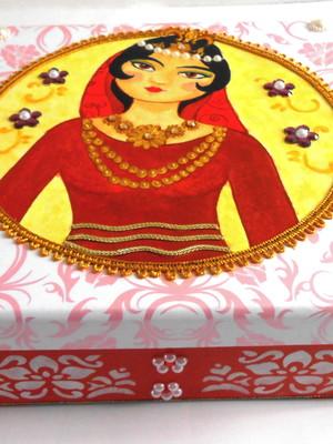 Caixa decorada em scrapdecor persa arabesco rosa