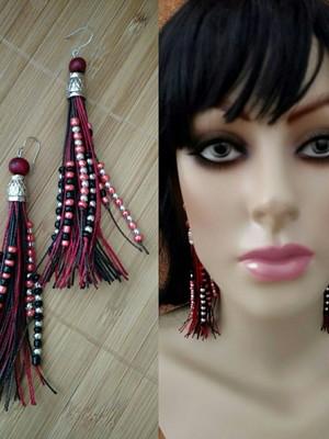 Brincos Cordonê Black Red