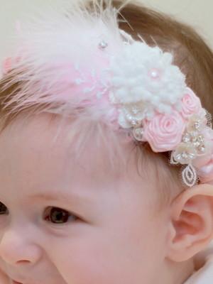 Headband Fascinator Bebê Flores Penas