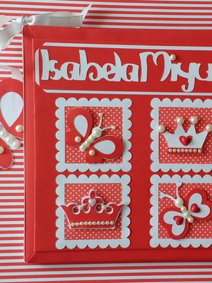 livro diário bebê menina princesa borboleta vermelho scrap