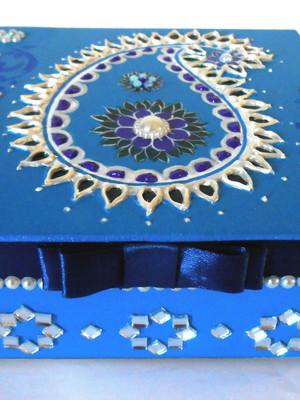 Caixa decorativa persa paisley azul celeste