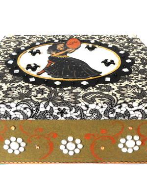Caixa decorada em scrapdecor persa arabesco preto