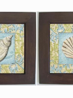 Dupla de Quadros Moldura de Madeira e Vidro Tam 30x30cm cada