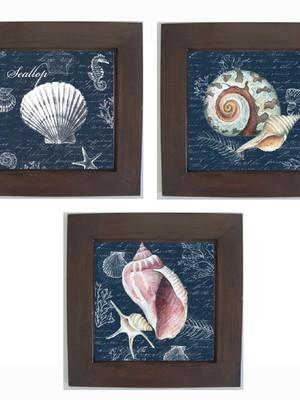 Trio de Quadros Decorativos Moldura de Madeira e Vidro