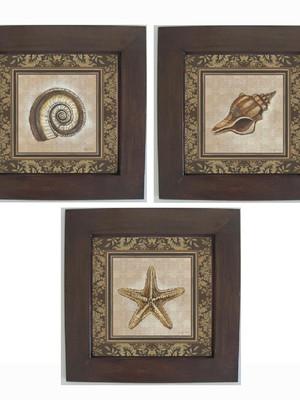 Trio de Quadros Decorativos com moldura de Madeira e Vidro