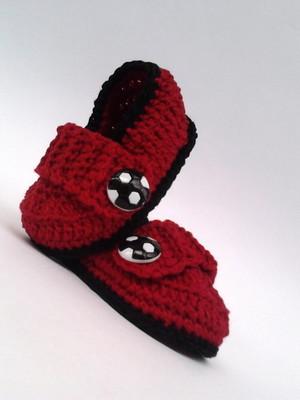 A360 Sapatinho croche vermelho menino