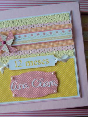 álbum fotos e caixa bebê menina scrapbook mesversários