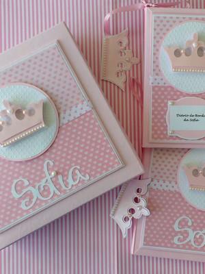 livro diário bebê menina princesa scrapbook caixa agenda mam
