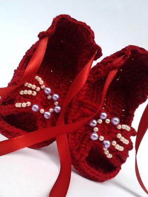 A190 Sandalinha croche vermelha menina