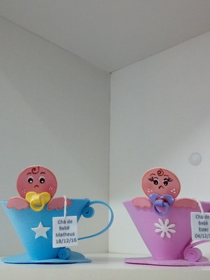 Lembrança Chá de Bebê porta balinhas EVA