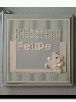 Livro do bebê Personalizado menino Ursinho Soft azul scrap