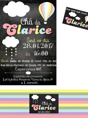 Kit digital Chá Nuvem Balão Chalkboard