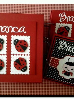 dois álbuns decorados caixa bebê menina joaninha scrapbook